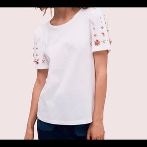 NEW Kate Spade White SS Tee with embellishment